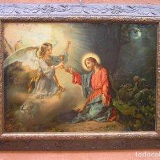 Arte: CROMOLITOGRAFÍA RELIGIOSA .MARCO ORIGINAL.71 X 85 JESÚS HUERTO DE LOS OLIVOS.ETIQUETA FABRICANTE.. Lote 205800231