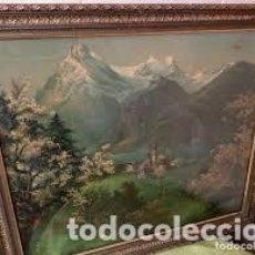Arte: ANTIGUA LAMINA DE PAISAJE MONTAÑOSO CON NIEVE Y BOSQUE,ENMARCADA.. Lote 206511321
