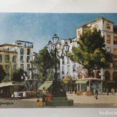Arte: LÁMINA DE HORACIO CAPILLA. PLAZA DE BIB-RAMBLA (GRANADA). Lote 208061120