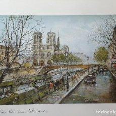 Arte: LAMINA GEORGE B. PARIS. NOTRE DAME ET LES BOUQUINISTES. Lote 208061570