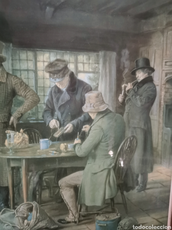 Arte: Precioso cuadro de pescadores ingleses. 1958 - Foto 4 - 209235062