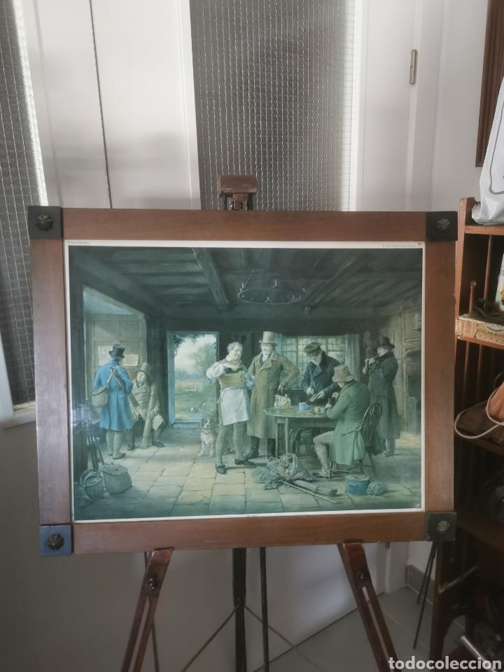 PRECIOSO CUADRO DE PESCADORES INGLESES. 1958 (Arte - Láminas Antiguas)