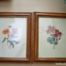 Arte: CUADROS LAMINAS ANTIGUAS FLORES MADERA Y CRISTAL. Lote 146519186
