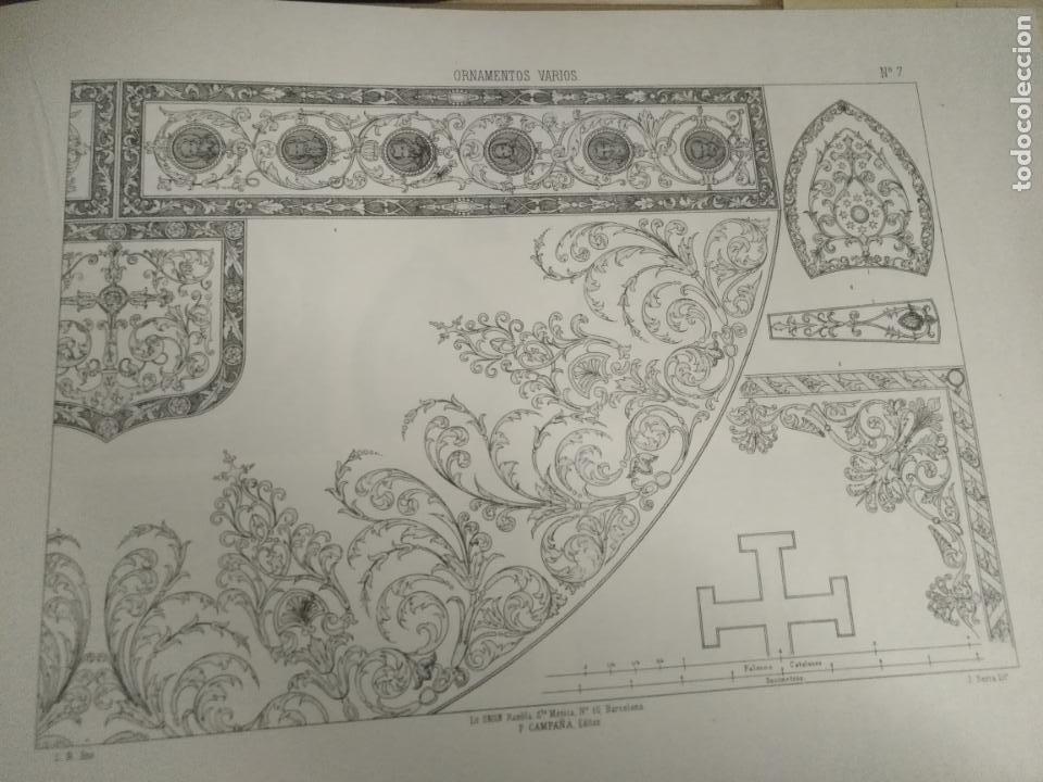 33,5 X 23,5 CM ANTIGUA LAMINA ORNAMENTACION RELIGIOSA CAPA PLUVIAL , MITRA BORDADOS (Arte - Láminas Antiguas)