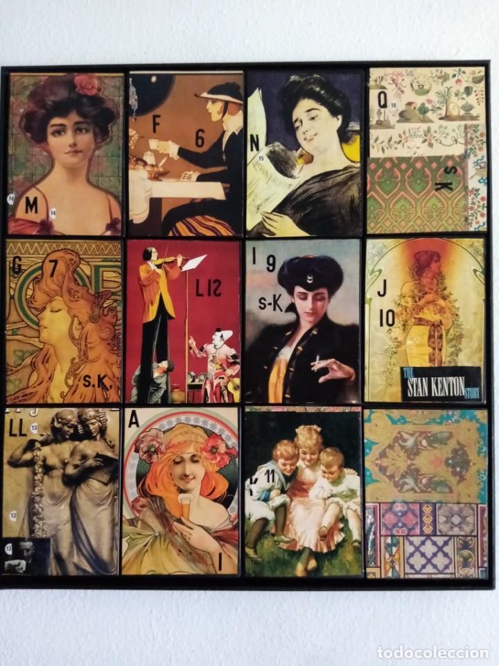 BONITO CUADRO REALIZADO CON CAJAS DE DVDS Y LÁMINAS ANTIGUAS ESTILO VINTAGE. MEDIDAS 59X55.ENMARCADO (Arte - Láminas Antiguas)