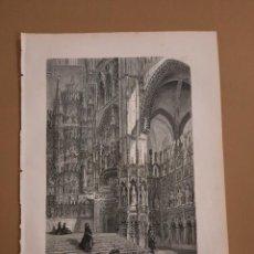 Arte: LAMINA LITOGRAFIA ORIGINAL ANTIGUA 1879 INTERIOR CATEDAL DE TOLEDO. Lote 212363533