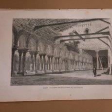 Arte: LAMINA LITOGRAFIA ORIGINAL ANTIGUA DORÉ 1879 BURGOS CLAUSTRO MONASTERIO LAS HUELGAS. Lote 212365293