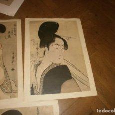 Arte: KITAGAWA UTAMARO JAPÓN 4 LÁMINAS PRINTED GERMANY 1971 HIRMER VERLAG MUNCHEN 42 X 30 CM.. Lote 212724086
