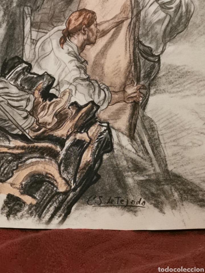 Arte: antigua lámina de Carlos Sáenz de Tejada recogedores de corcho - Foto 2 - 213004975