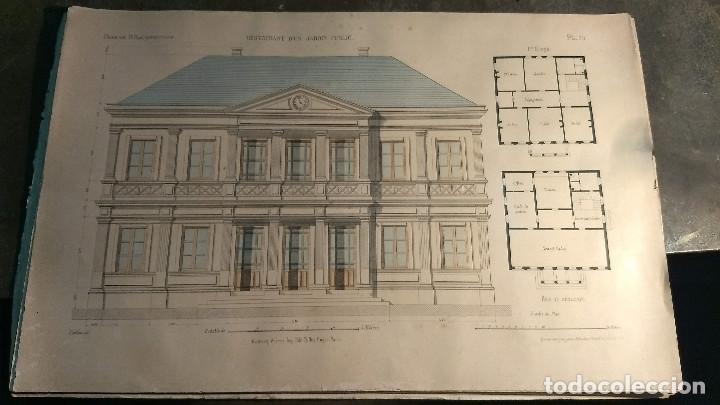Arte: Dessins Darchitecture. Doce láminas litográficas de diversos tipos de edificios. Monrocq Fr, èdit. - Foto 2 - 213464950