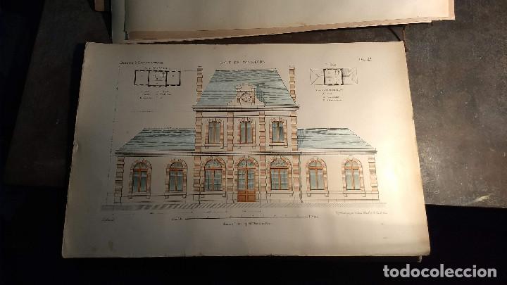 Arte: Dessins Darchitecture. Doce láminas litográficas de diversos tipos de edificios. Monrocq Fr, èdit. - Foto 4 - 213464950