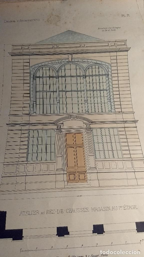 Arte: Dessins Darchitecture. Doce láminas litográficas de diversos tipos de edificios. Monrocq Fr, èdit. - Foto 5 - 213464950