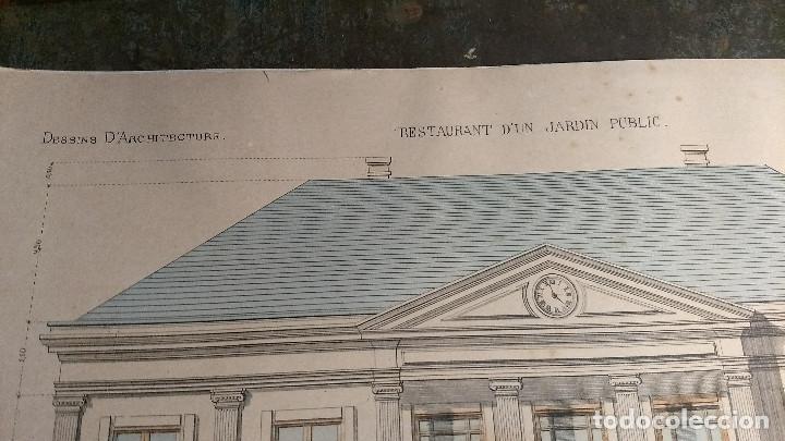 Arte: Dessins Darchitecture. Doce láminas litográficas de diversos tipos de edificios. Monrocq Fr, èdit. - Foto 8 - 213464950