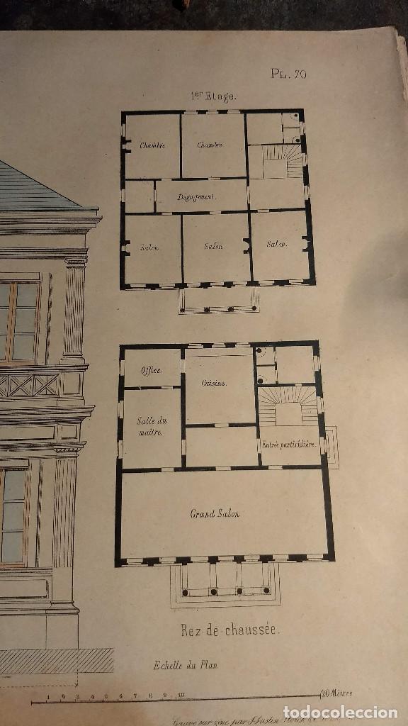 Arte: Dessins Darchitecture. Doce láminas litográficas de diversos tipos de edificios. Monrocq Fr, èdit. - Foto 9 - 213464950