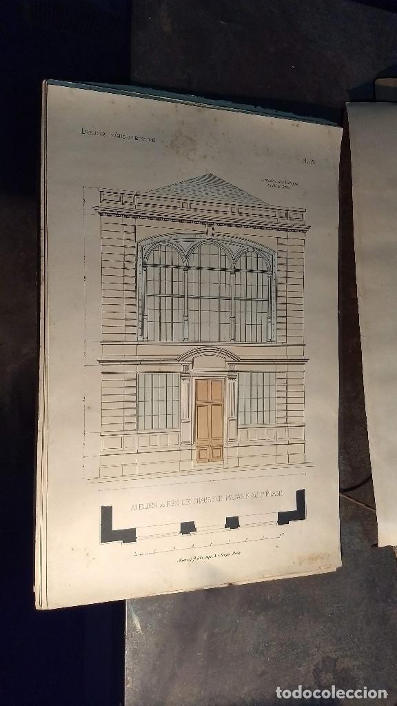 Arte: Dessins Darchitecture. Doce láminas litográficas de diversos tipos de edificios. Monrocq Fr, èdit. - Foto 12 - 213464950