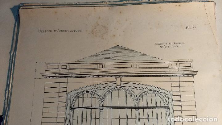 Arte: Dessins Darchitecture. Doce láminas litográficas de diversos tipos de edificios. Monrocq Fr, èdit. - Foto 13 - 213464950