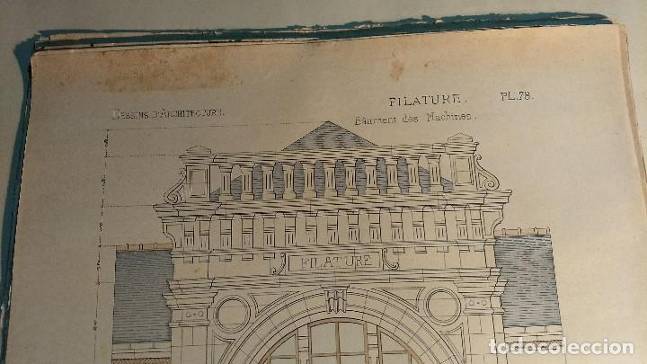Arte: Dessins Darchitecture. Doce láminas litográficas de diversos tipos de edificios. Monrocq Fr, èdit. - Foto 21 - 213464950
