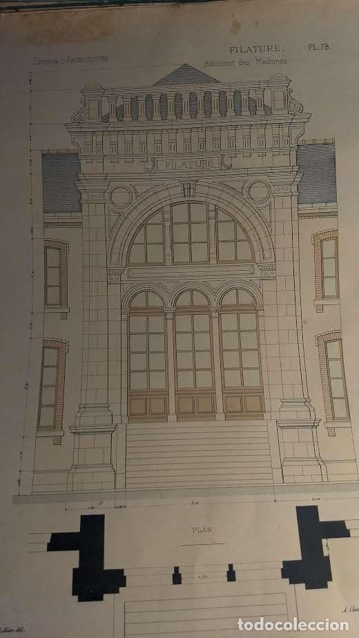 Arte: Dessins Darchitecture. Doce láminas litográficas de diversos tipos de edificios. Monrocq Fr, èdit. - Foto 23 - 213464950