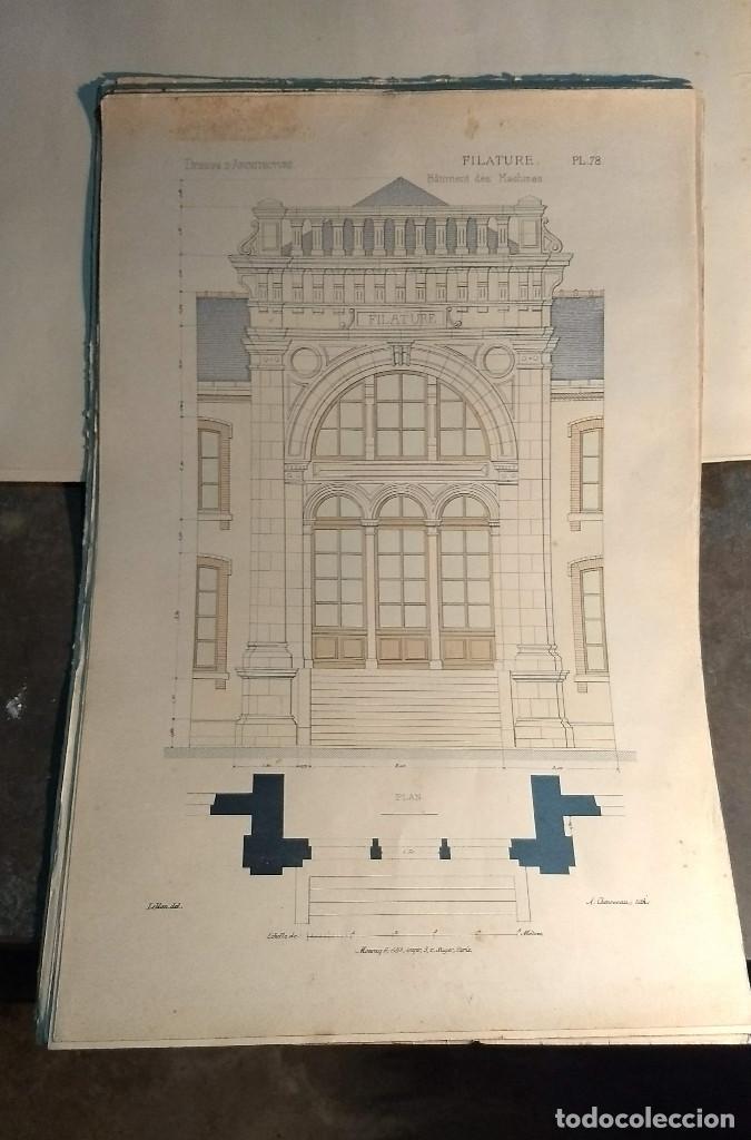 Arte: Dessins Darchitecture. Doce láminas litográficas de diversos tipos de edificios. Monrocq Fr, èdit. - Foto 24 - 213464950