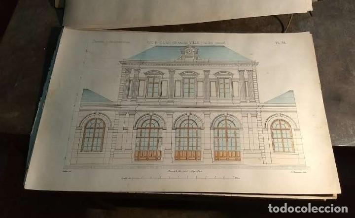 DESSINS D'ARCHITECTURE. DOCE LÁMINAS LITOGRÁFICAS DE DIVERSOS TIPOS DE EDIFICIOS. MONROCQ FR, ÈDIT. (Arte - Láminas Antiguas)
