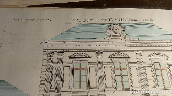 Arte: Dessins Darchitecture. Doce láminas litográficas de diversos tipos de edificios. Monrocq Fr, èdit. - Foto 25 - 213464950