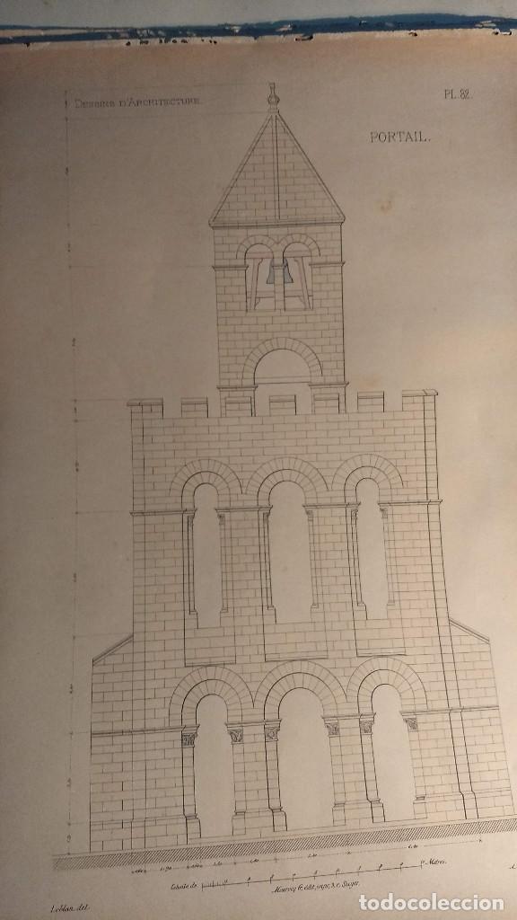 Arte: Dessins Darchitecture. Doce láminas litográficas de diversos tipos de edificios. Monrocq Fr, èdit. - Foto 29 - 213464950