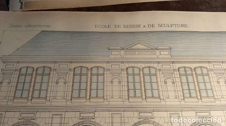 Arte: Dessins Darchitecture. Doce láminas litográficas de diversos tipos de edificios. Monrocq Fr, èdit. - Foto 49 - 213464950