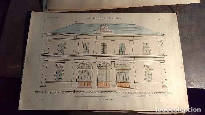 Arte: Dessins Darchitecture. Doce láminas litográficas de diversos tipos de edificios. Monrocq Fr, èdit. - Foto 53 - 213464950