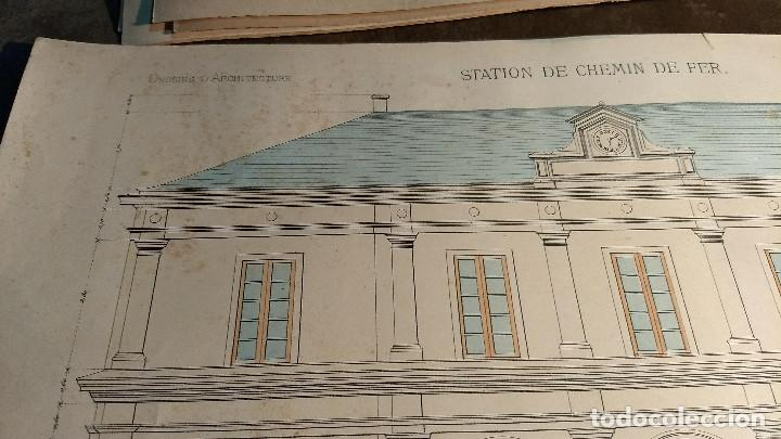 Arte: Dessins Darchitecture. Doce láminas litográficas de diversos tipos de edificios. Monrocq Fr, èdit. - Foto 56 - 213464950
