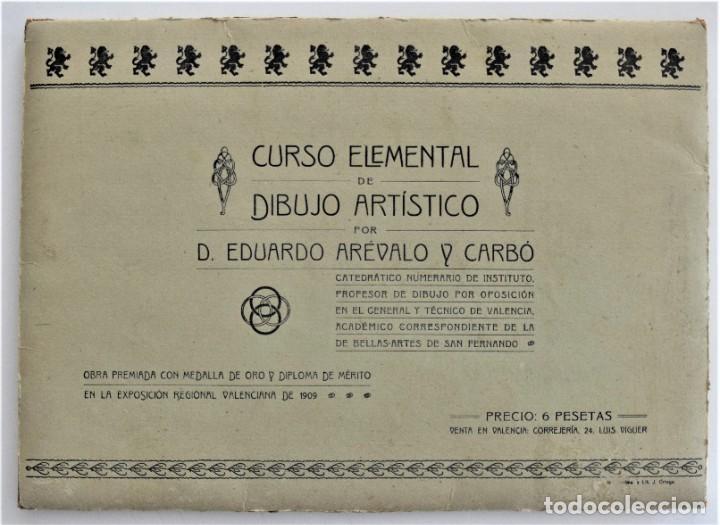 CURSO ELEMENTAL DE DIBUJO ARTÍSTICO - EDUARDO ARÉVALO Y CARBÓ - 19 LÁMINAS - VALENCIA 1909? (Arte - Láminas Antiguas)