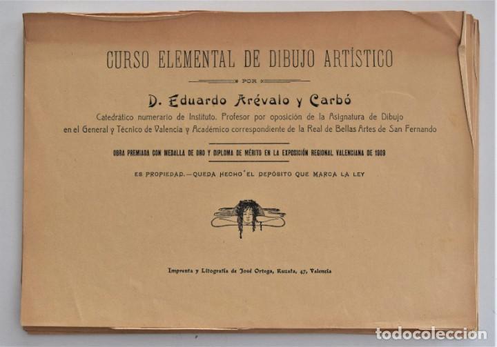 Arte: CURSO ELEMENTAL DE DIBUJO ARTÍSTICO - EDUARDO ARÉVALO Y CARBÓ - 19 LÁMINAS - VALENCIA 1909? - Foto 2 - 214319356