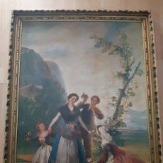 Art: GRAN TAMAÑO LAMINA ANTIGUA EN MADERA DE FRANCISCO DE GOYA. VER DESCRIPCIÓN. Lote 214368622