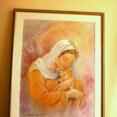 Arte: LAMINA ENMARCADA CON CRISTAL Y MARCO DE MADERA 82 X 63 CM - PESO MÁS DE 3,5 KG - VIRGEN CON NIÑO. Lote 215880977