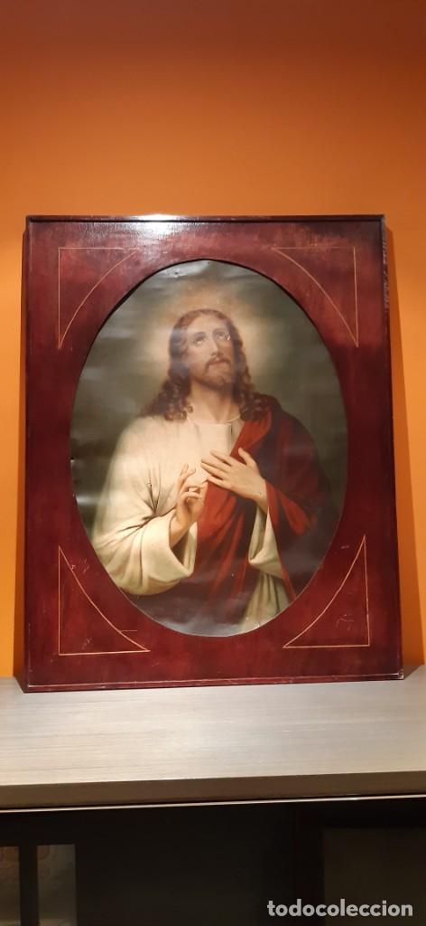 ANTIGUO CUADRO CON LAMINA ANTIGUA RELIGIOSA (Arte - Láminas Antiguas)