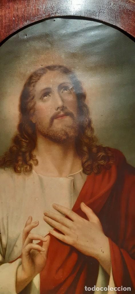 Arte: Antiguo cuadro con lamina antigua religiosa - Foto 2 - 216522431
