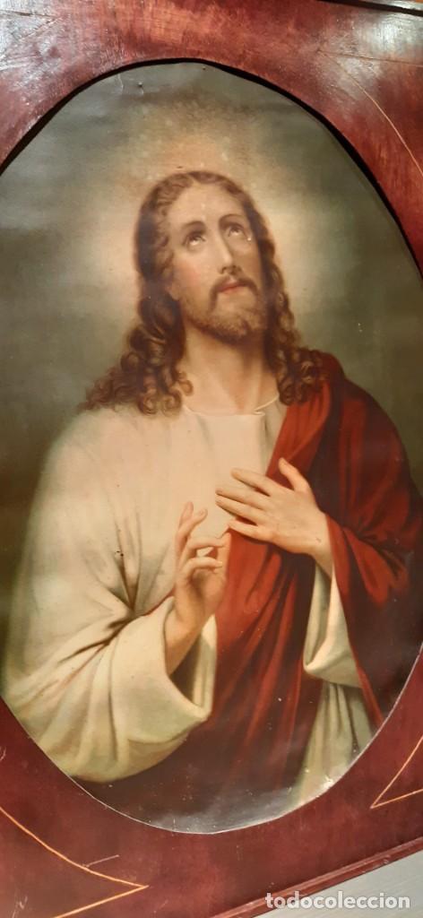 Arte: Antiguo cuadro con lamina antigua religiosa - Foto 5 - 216522431