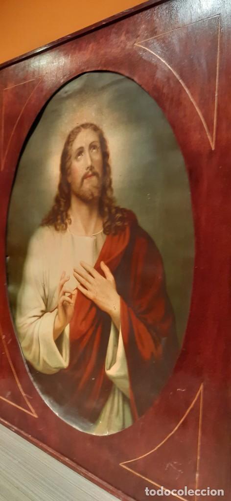 Arte: Antiguo cuadro con lamina antigua religiosa - Foto 7 - 216522431