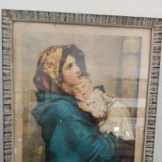Arte: LAMINA. VIRGEN MARÍA. LA MADONNA DEL RIPOSO. ENMARCADO. ORIGINAL AÑOS 70.. Lote 216841075