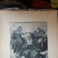 Arte: LA CORONACIÓN DE LA VIRGEN, VELAZQUEZ,, FOTOTIPIA DE HAUSER Y MENET SIGLO XIX. Lote 218006336