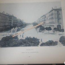 Arte: ZARAGOZA, PASEO DE LA INDEPENDENCIA, SIGLO XIX, FOTOTIPIA DE HAUSER Y MENET SIGLO XIX. Lote 218290058