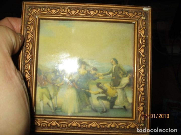 Arte: ANTIGUO CUADRO LAMINA ANTIGUA DE GOYA JUEGO RETIRO MADRID MARCO PAN DE ORO Y CRISTAL - Foto 3 - 218396676