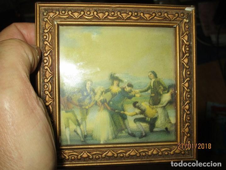 ANTIGUO CUADRO LAMINA ANTIGUA DE GOYA JUEGO RETIRO MADRID MARCO PAN DE ORO Y CRISTAL (Arte - Láminas Antiguas)