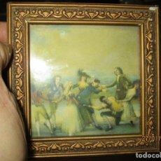 Arte: ANTIGUO CUADRO LAMINA ANTIGUA DE GOYA JUEGO RETIRO MADRID MARCO PAN DE ORO Y CRISTAL. Lote 218396676