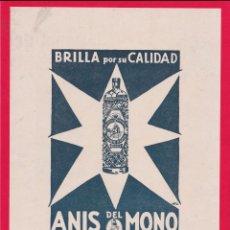 Arte: ANTIGUA LÁMINA/RECORTE PUBLICIDAD ANIS DEL MONO - PEGADA EN CARTULINA ROJA. Lote 218475975