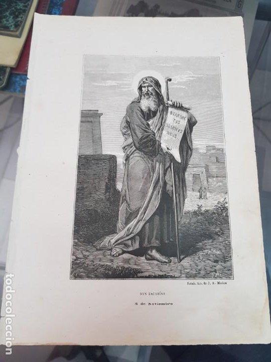 ANTIGUA LAMINA GRABADO RELIGIOSA SANTORAL SAN ZACARIAS 5 NOVIEMBRE TIP MUÑOZ (Arte - Láminas Antiguas)