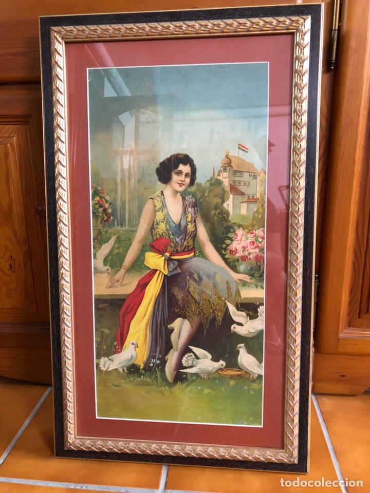 Arte: Bonita lámina años 40 con marco antiguo . 73'5 x 43'5 cm - Foto 2 - 218607666