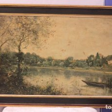 Arte: JEAN-BAPTISTE COROT (1796-1875) SOBRE LIENZO, CON BARNIZ EFECTO PINTURA. ENMACADO 105X59CM. Lote 219002331