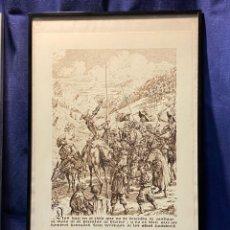 Arte: IMPRESION PAPEL SELLO SECO PERFIL QUIJOTE SANCHO PANZA HOMBRES VERDUGOS AÑOS 80 90 54X34C. Lote 221984148