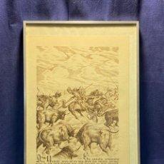 Arte: IMPRESION PAPEL SELLO SECO PERFIL QUIJOTE SANCHO PANZA TOROS BRAVOS AÑOS 80 90 54X34C. Lote 221984210