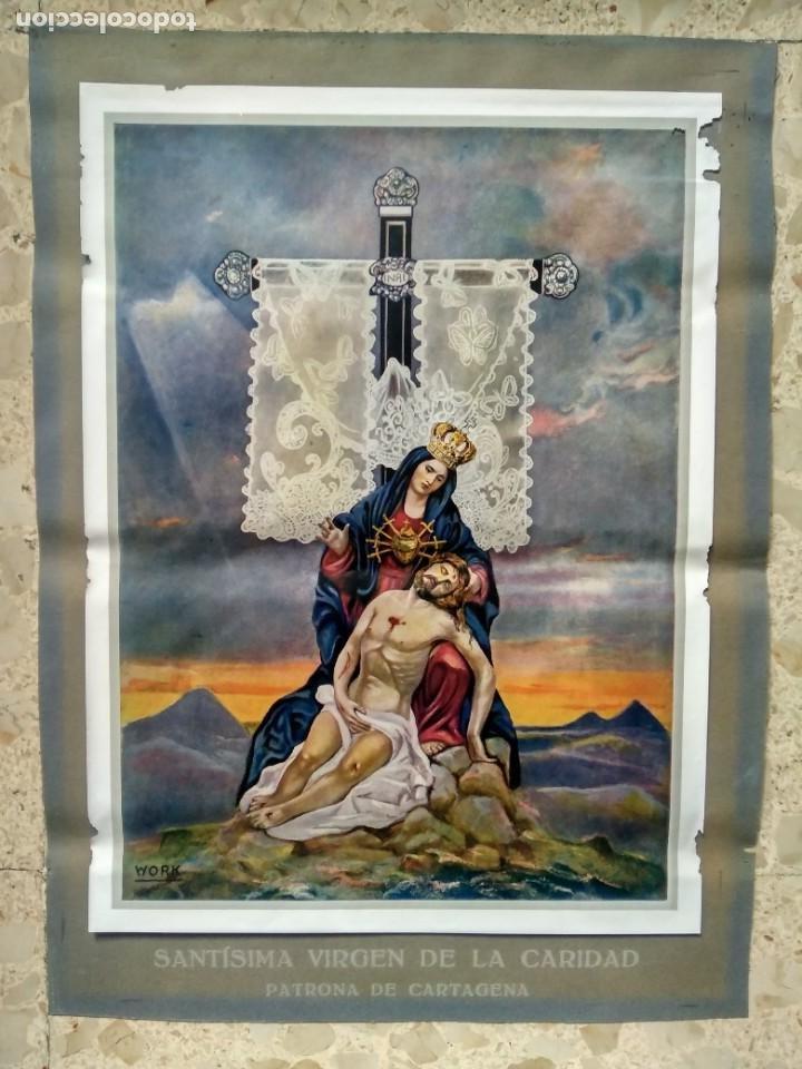 VIRGEN DE LA CARIDAD - PATRONA DE CARTAGENA, MURCIA - ANTIGUA LÁMINA PARA CUADRO - RARA (Arte - Láminas Antiguas)